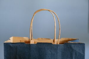 navy blue shopping gift bag with handles